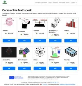 Mathspeak platform home page in Italian