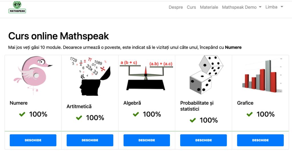 Mathspeak platform home page romanian